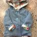BNWOT ORIGINAL - Upcycled Denim Blue 100% Wool & 100% Cotton Blue Roses Hooded Wool Coat - Age 4