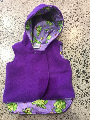 Upcycled Purple 100% Wool & 100% Cotton Purple Frogs Hooded Wool Vest - Fully Reversible
