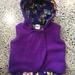 Upcycled Purple 100% Wool & 100% Cotton Purple Flowers Hooded Wool Vest - Fully Reversible