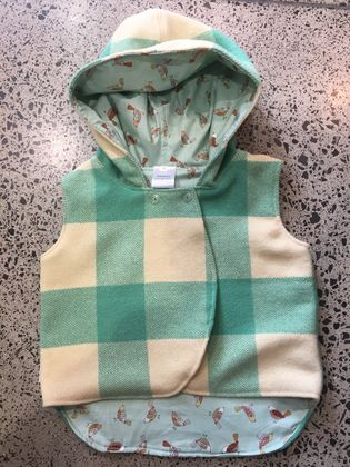 Upcycled Spearmint 100% Wool & 100% Cotton Spearmint Birds Hooded Wool Vest - Fully Reversible