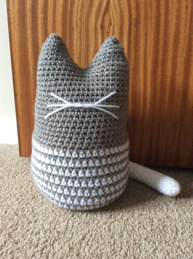 Crochet cat whiskers doorstop
