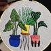 Palms in Bright Pots Hand Embroidery