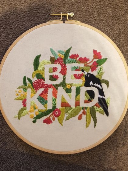 Be Kind Hand Embroidery in Hoop