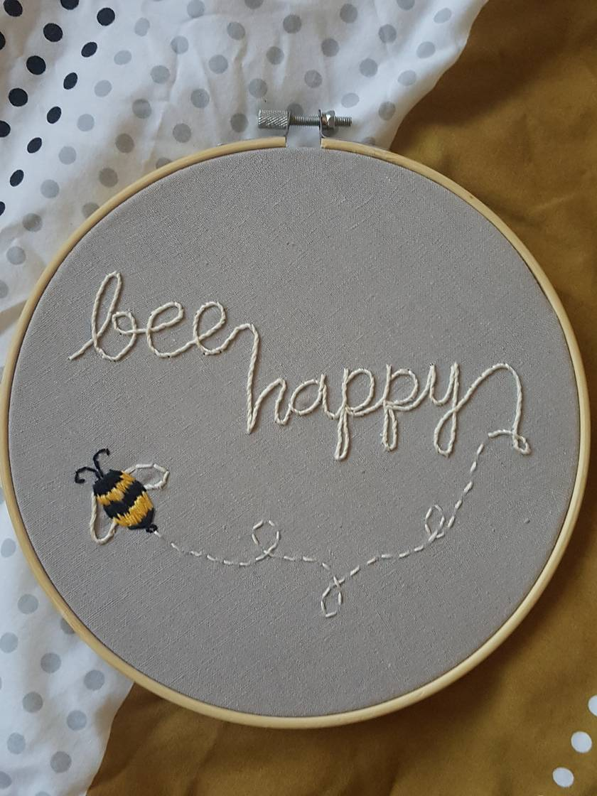 Bee Happy Hand Embroidery
