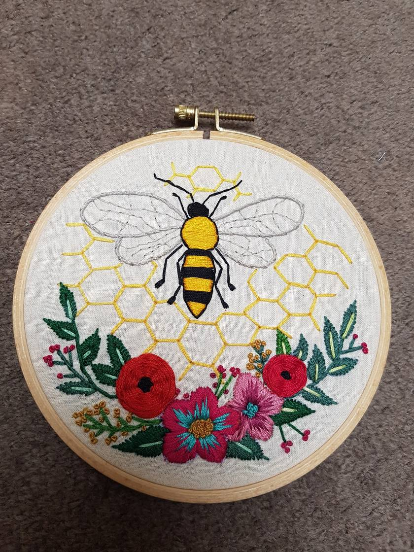 Bee and flowers hand embroidery