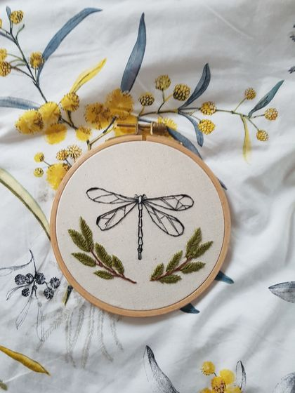 """Dragonfly and leave"" Hand Embroidery"