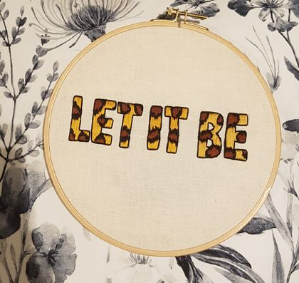 "Leopard print ""Let it Be"" Hand Embroidery"