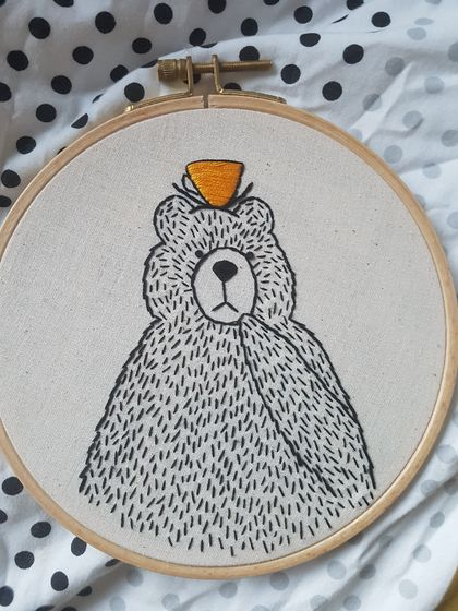 Bear with mustard teapot Embroidery