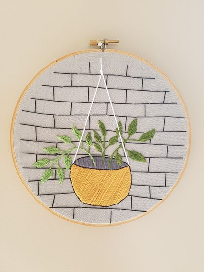 Plant in mustard hanging basket hand-Embroidery