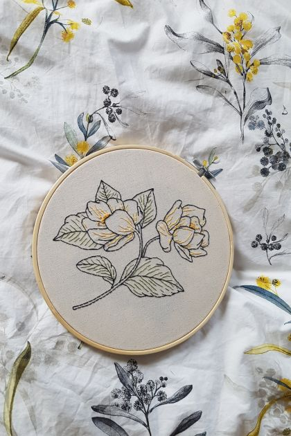 Rose Outline Hand Embroidery