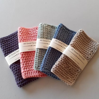 Face Cloths Crocheted Bamboo Cotton