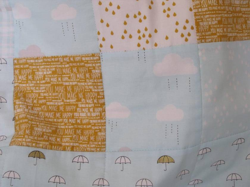 """Patchwork Quilt for Baby """"When Skies are Grey"""" in blue"""