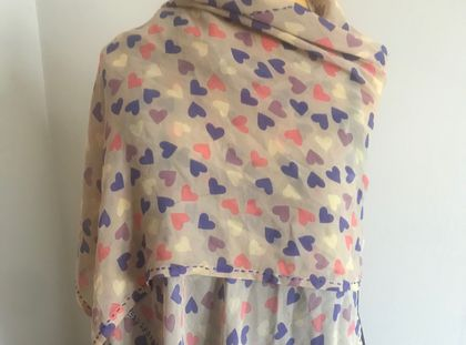 Silk Scarf - pink and purple hearts