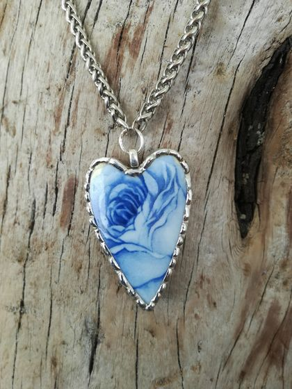 """Blue Rose"" pendant - upcycled tea cup P045"