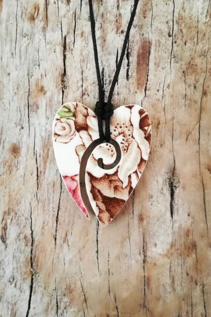 """Koru Heart"" pendant - upcycled broken china pendant P083"