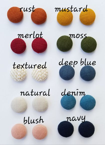 3 pairs of Fabric Button Earrings in Linen