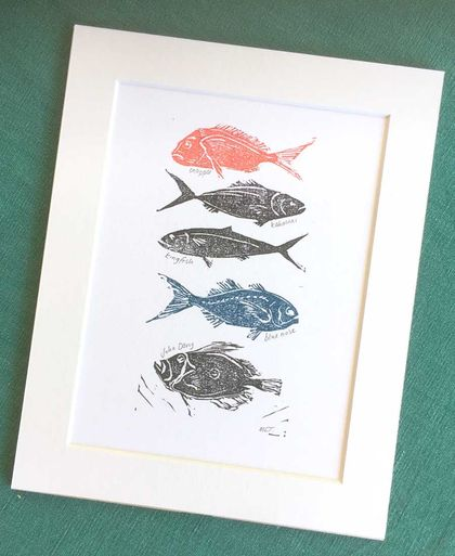 Lino Cut Print: Red Fish, Blue Fish, NZ Fish