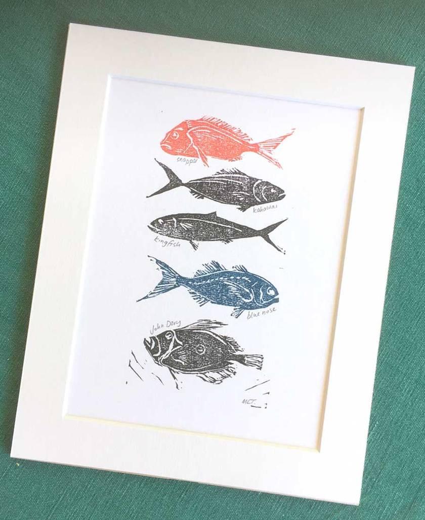 Lino Cut Print Red Fish Blue Fish Nz Fish Felt