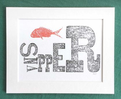 Lino Cut Print: NZ Snapper