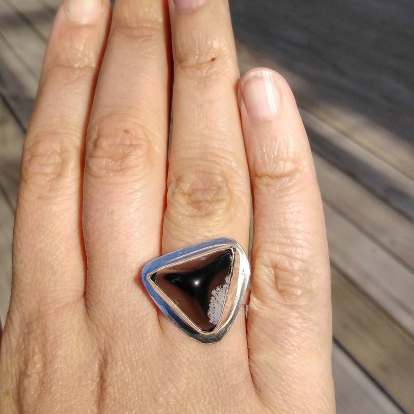 Snowflake Obsidian Statement Ring