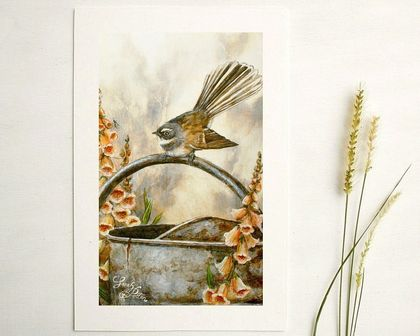 Fantail Print - NZ Bird Wall Art