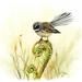 A4 Art Print - Fantail & Fern - NZ Native Birds Art