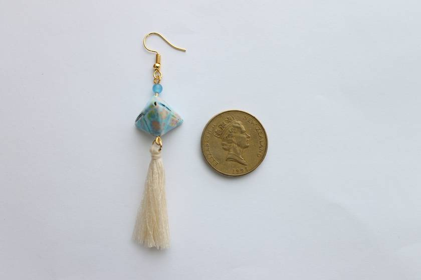 Handmade Origami Earrings - Pyramid Tassel -