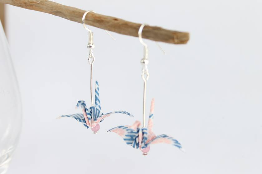Handmade Origami Earrings - Crane-
