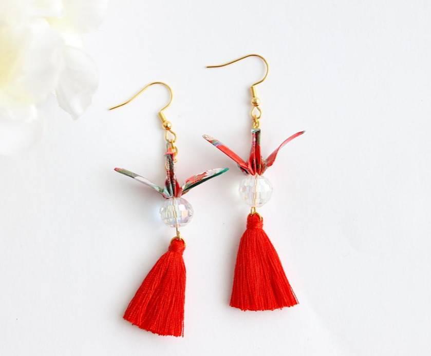 Handmade Origami Earrings - Crane-