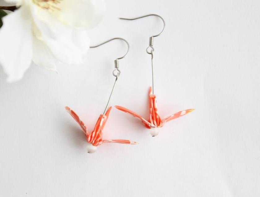 Origami Crane Earrings- Bright Orange
