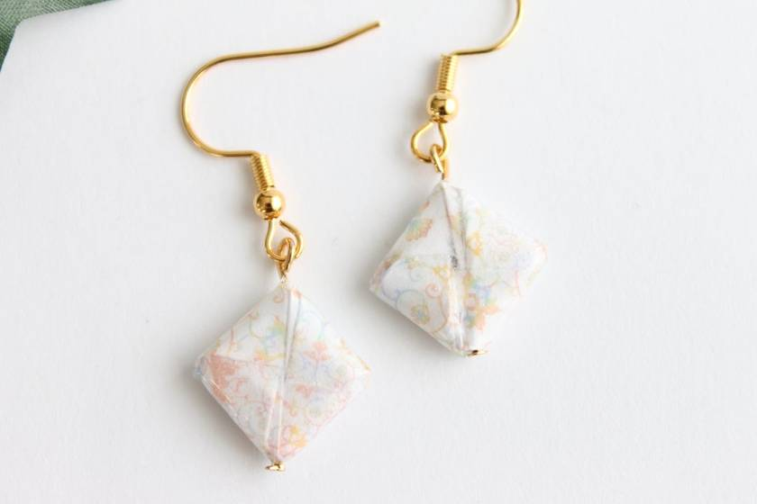 Origami Square Earrings - White Floral