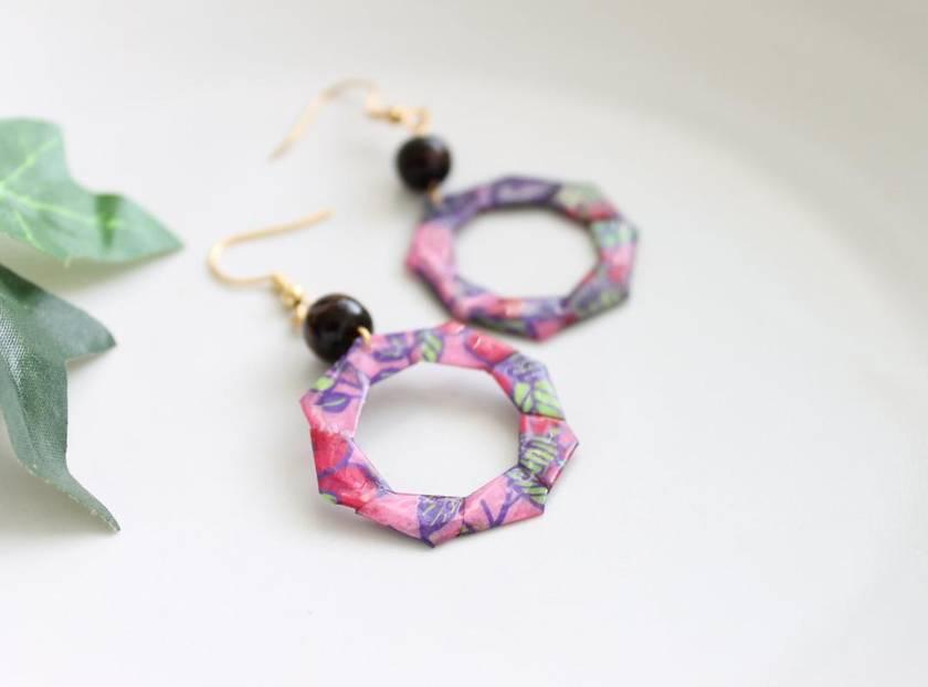 Origami Hoop Earrings - Pink Floral
