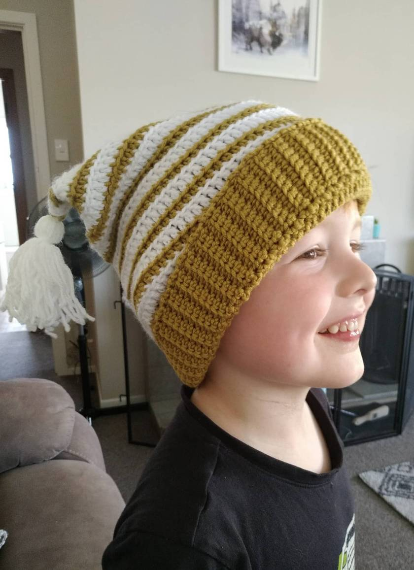 Merino and Acrylic double-tasseled crochet beanie