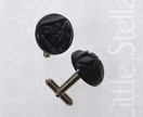1950s Black Buttons Currlinks