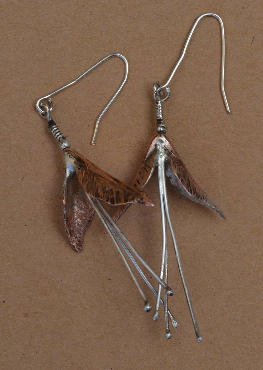 Sterling Silver and Copper Fuchsia Style Earrings