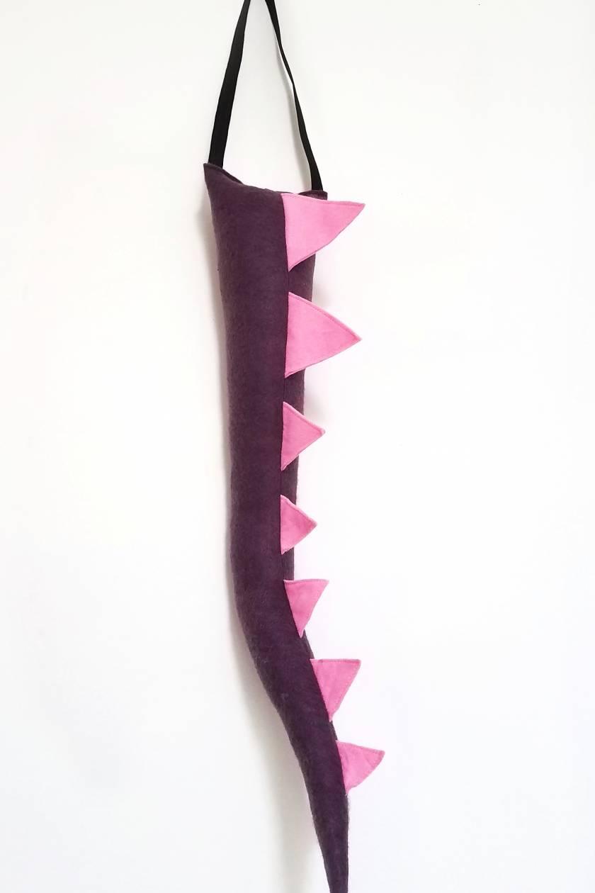 Dinosaur kids felt tail - PURPLE with pink spines