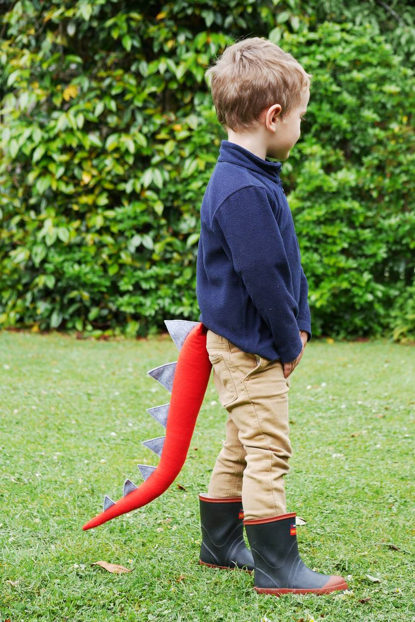Dinosaur kids felt tail - Red with grey spines