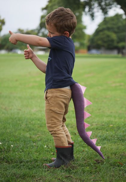 Dinosaur kids felt tail - PURPLE with pink spines
