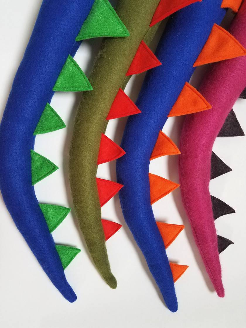 Dinosaur kids felt tail - GREEN with red spines