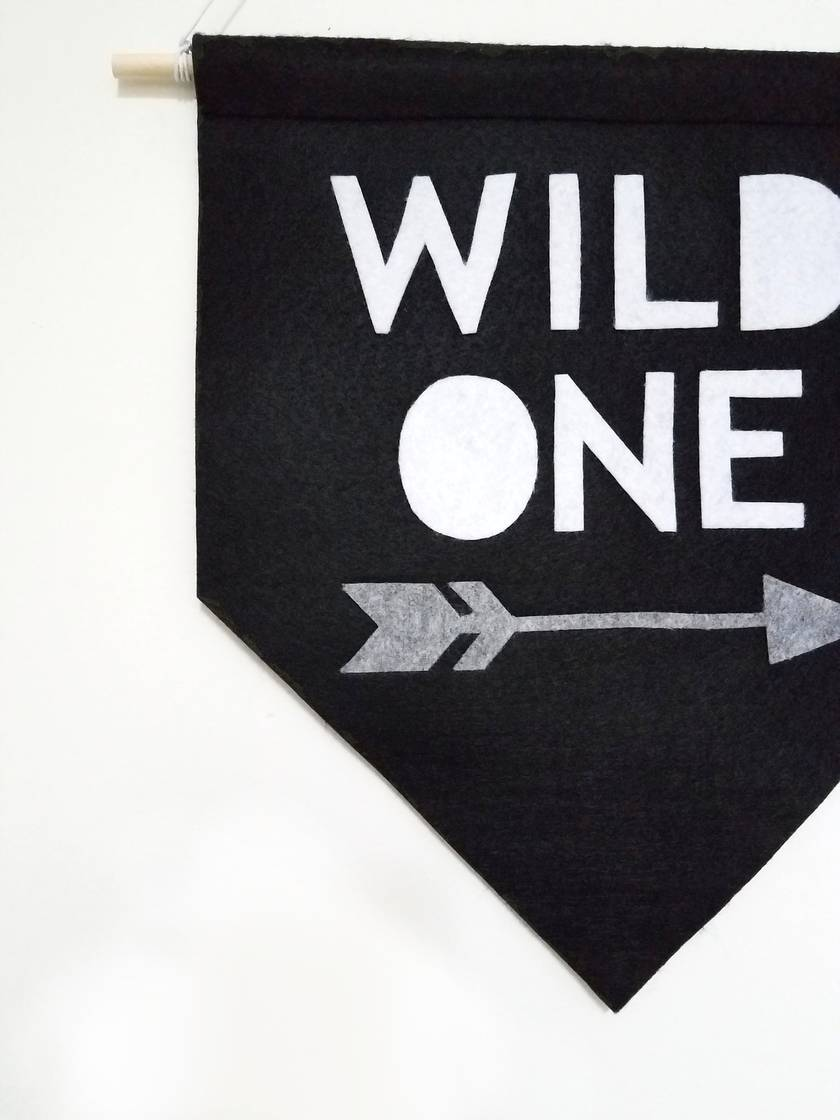 WILD ONE felt banner