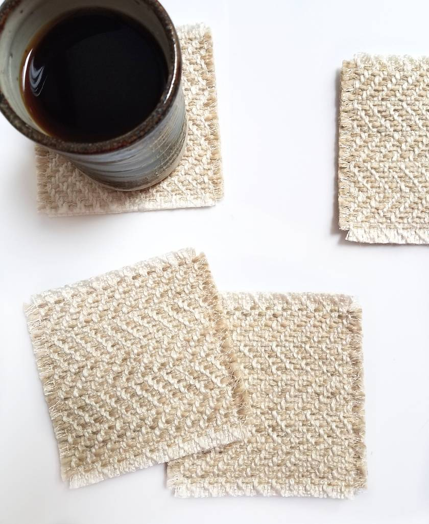 Upcycled rustic coasters - set of 4 cream/natural