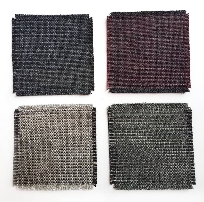 Upcycled coasters - set of 4 charcoal and maroon