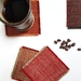 Upcycled coasters - set of 4 red coloured
