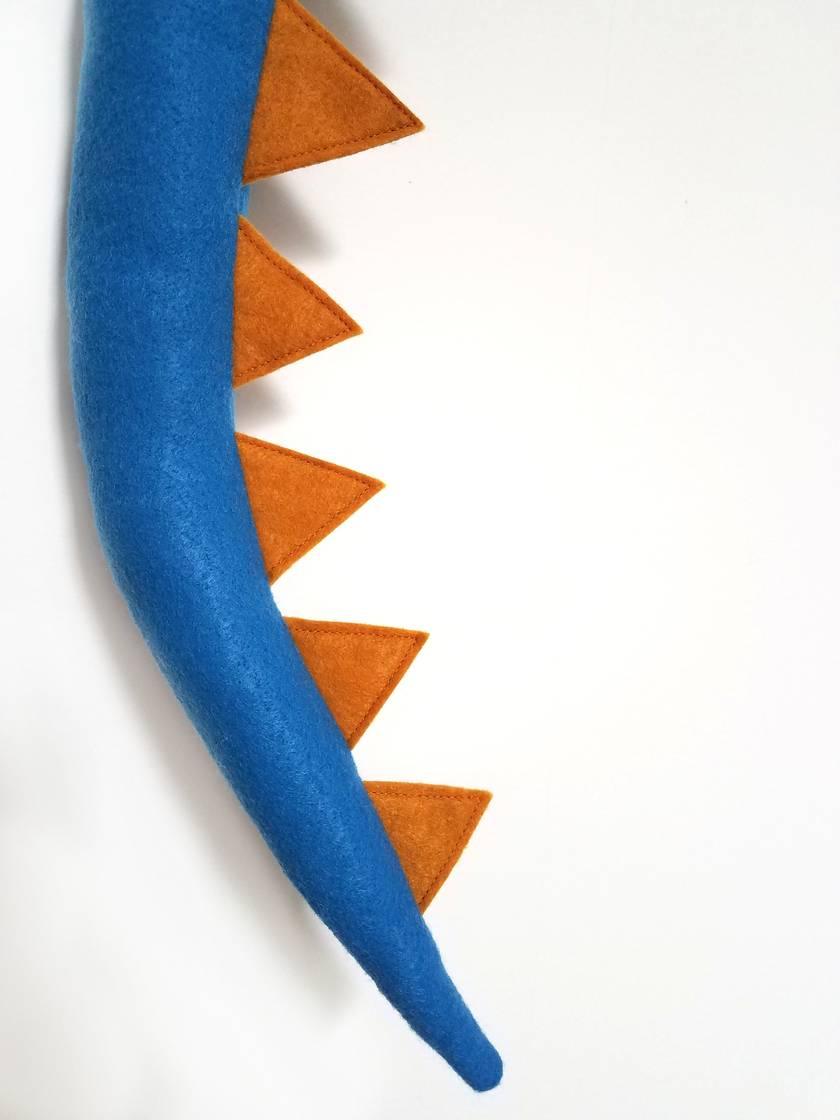 Dinosaur kids felt tail - Blue with MUSTARD spines
