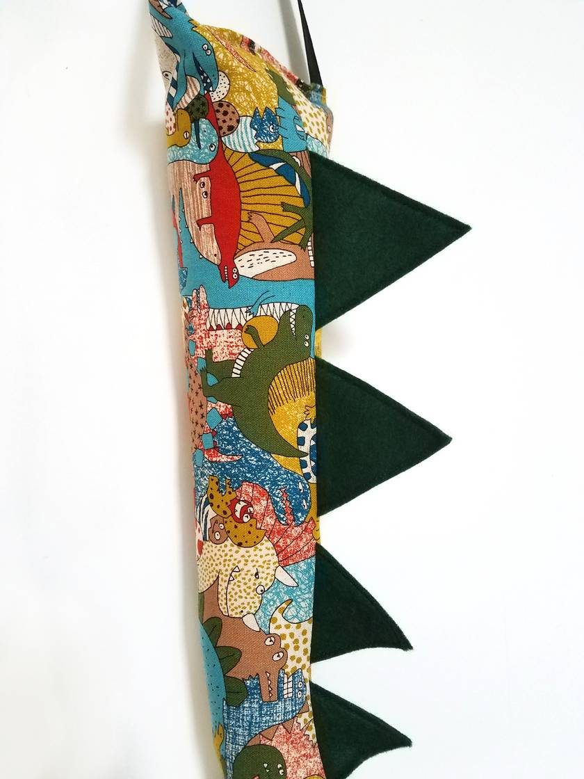 Dinosaur kids tail - Dino print with RED or GREEN spines