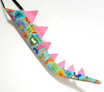 Dinosaur kids tail - Animal print with pink spines