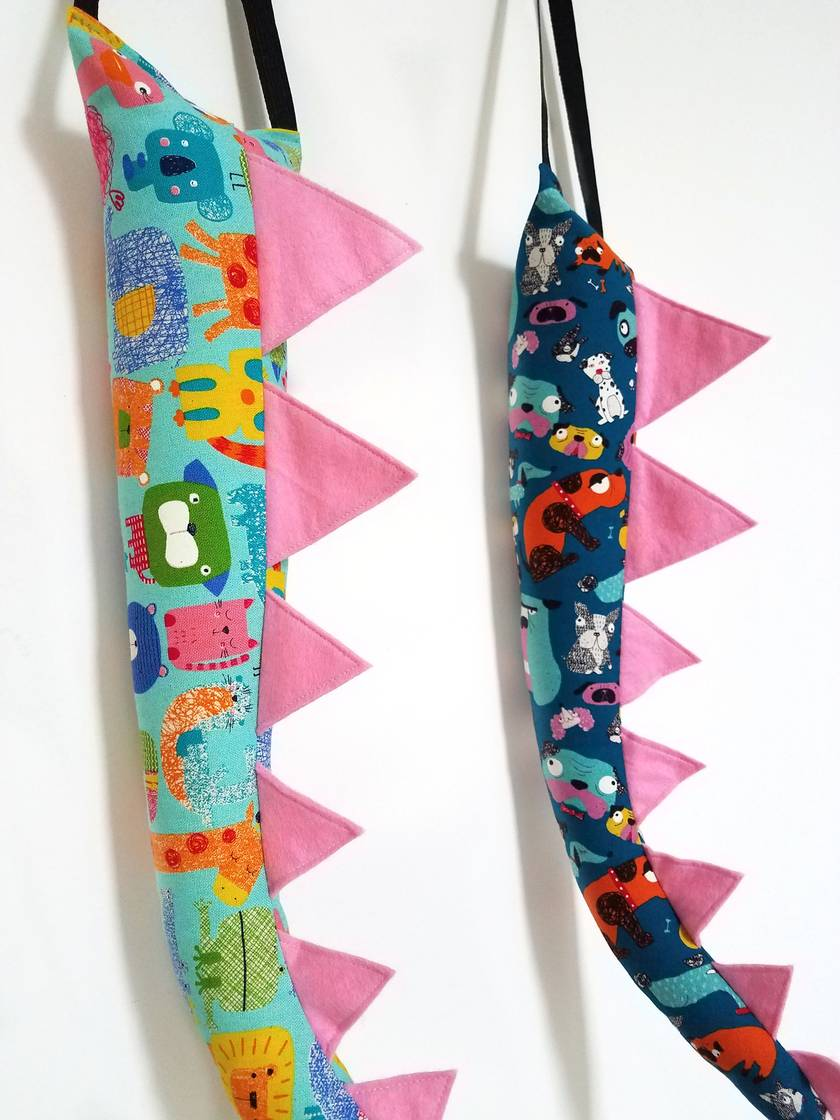 Dinosaur kids tail - Animal print with pink spines
