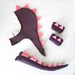 Kids dinosaur costume set - tail, hood and cuffs - PURPLE with pink spines