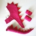 Kids dinosaur costume set - tail, hood and cuffs - MAGENTA with RED spines