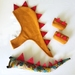 Kids dinosaur costume set - tail, hood and cuffs - MUSTARD with RED spines